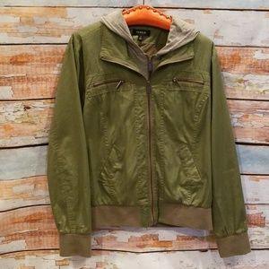 Torrid MixedMedia Green/Gray Sweater Jacket 1!